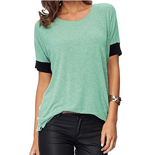 Junior Large Mint - Women's Casual Round Neck Loose Fit Short Sleeve T-Shirt Blouse Tops (Mint, XL)