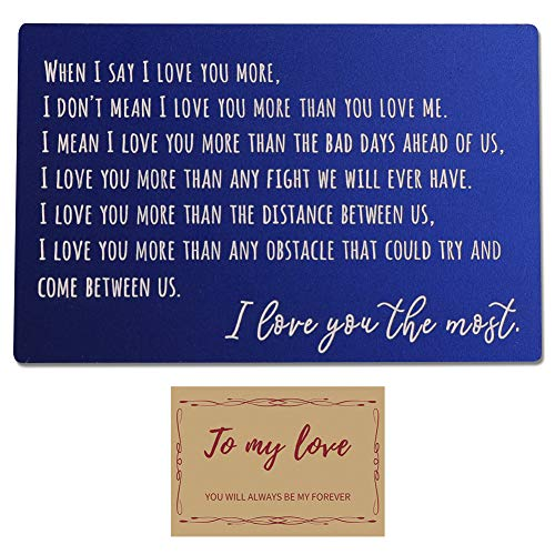 Engraved Wallet Card Insert, Personalized Aluminum Magnesium Alloy, Wallet Love Note Insert, Love Message, Valentine's Day, Groom's Gift For Him, Boyfriend Gift, Husband Gift