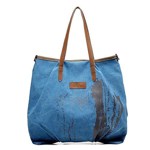 Wild Fashion Canvas Shoulder Bag Leisure Ms. Blue