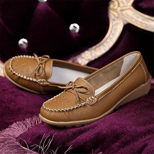 Otoño Rojo de Primavera Zapatos de madre Pendiente y Nuevos SHINIK cuero Negro Naranja Casual Blanco Rosy 2018 zapatos femeninos de frijoles Zapatos antideslizantes C Caqui xwBPqtq