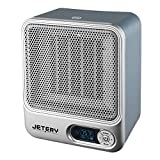 JETERY Space Ceramic Electric Heater, Portable Fan Heater for Home & Office, Personal Samll Air Heater with Adjustable Thermostat - Overheat Protection and Built-inTimer, Silver