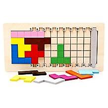Labu Store Colorful Wooden Tangram 3D Puzzles Toys Children Number Brain Teaser Montessori Education Toys Tetris Game Wood Toy Jisgaw Board