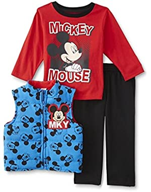 Toddler Boys 3 pc Mickey Mouse Blue Vest, Red T-Shirt, & Pants Set