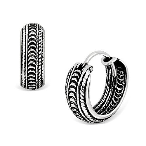 WithLoveSilver 925 Sterling Silver Oxidized Knot Rope Twist Bali Design Hoop Earrings
