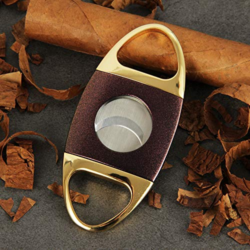 (CIGARISM Golden Handles Purple Sands Finish Stainless Steel Blades Cigar)
