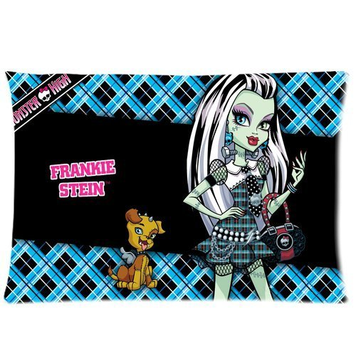Custom Monster High Pillowcase FRANKIE STEIN Cute Home Decorative Throw Pillow Cover Soft Cotton Zippered Cushion Case Two Sides Pattern 20x36 (Frankie Monster High Pictures)