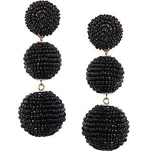 Humble Chic Women's Beehive Beaded Dangles - Triple Bubble Ball Statement Post Drop Earrings