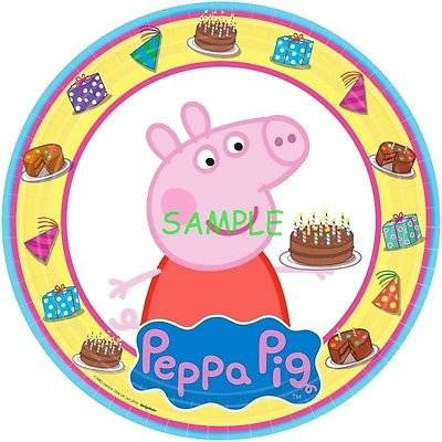 "SDore Peppa Pig 8"" Round Edible Birthday Cake Topper Frostin"