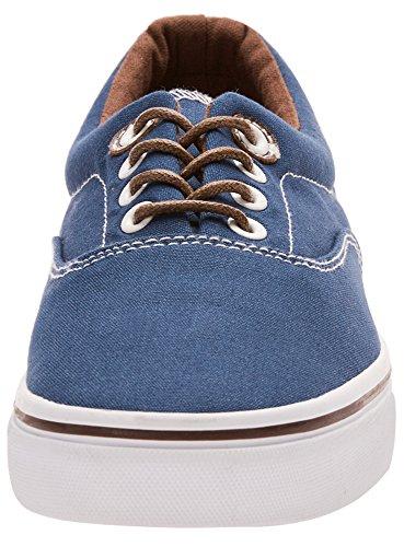 oodji Ultra Hombre Zapatillas de Tela Básicas Azul (7900N)