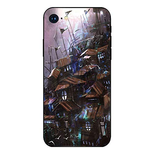 Phone Case Compatible with iphone7 iphone8 mobile phone covers phone shell Brandnew Tempered Glass Backplane,Fantasy,Futuristic Fiction Old Wooden Castle with Circular Windows Architecture Graphic,Mau ()