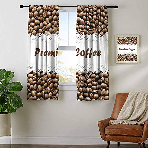 Mozenou Coffee, Black Out Window Curtain Short, Freshly Roasted Arabica Beans Premium Quality Doodle White Border Being Robust, Curtains for Party Decoration, W63 x L45 Inch Cocoa White