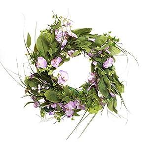 Red Co. Summer Violets Bouquet Wreath - Purple & White Flower Petals, 22 Inches 1