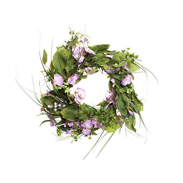 Red Co. Summer Violets Bouquet Wreath – Purple & White Flower Petals, 22 Inches