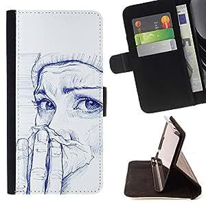 GIRL COLD WINTER INK PAINTING PAINTING ART/ Personalizada del estilo del dise???¡Ào de la PU Caso de encargo del cuero del tir????n del soporte d - Cao - For Sony Xperia Z2 D6502
