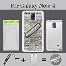 Vintage Harmonica on Newspaper Custom Galaxy Note 4 Cases-White-Plastic,Bundle 2in1 Comes with Custom Case/Universal Stylus Pen by innosub