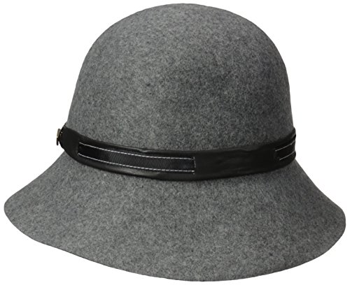 Goorin Bros. Women's Josephine Cloche Hat with Faux Leather Band, Gray, Large