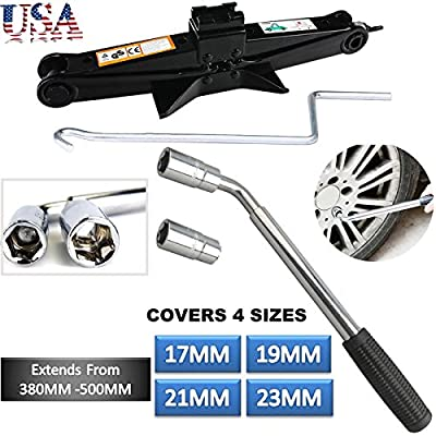 Telescoping Wheel Lug Wrench and Scissor Lift Jack 2 Ton with Speed Handle Standard Sockets 17mm/19mm, 21mm/23mm