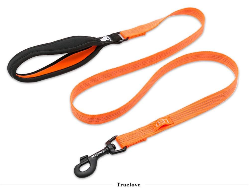 orange L orange L CAOBOO Pet Nylon Reflective Leash Used Harness and Collar for Small Big All Breed Training Running Walking TLL2771 orange L