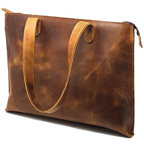 - PURPLE RELIC: Real Leather Sleek Zip Tote Top Handle Shoulder Handbag Satchel Tablet Bag