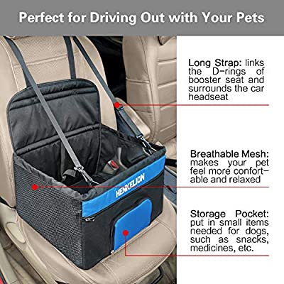 Henkelion-Pet-Dog-Booster-Seat-Deluxe-Pet-Booster-Car-Seat-for-Small-Dogs-Medium-Dogs-Reinforce-Metal-Frame-Construction-Portable-Waterproof-Collapsible-Dog-Car-Carrier-with-Seat-Belt