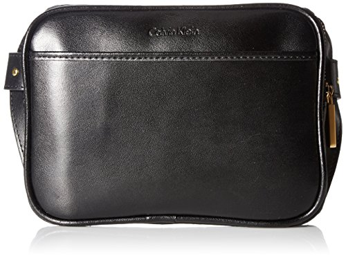 Calvin Klein Men's Zip Top Belt Bag, black logo/black brushed gold, Small Calvin Klein Embossed Belt