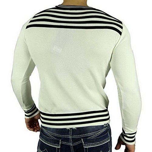 R-Neal RN-5013 Herren Pullover V-Neck Kontrast Pulli Sweatshirt Jacke Hoodie Neu, Größe:XXL, Farbe:Weiß