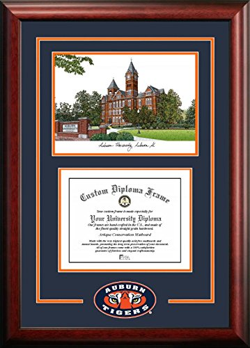 Campus Images AL992SG Auburn University Spirit Graduate Diploma Frame with Lithograph Print, 13