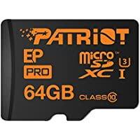 Patriot EP Pro 64GB Micro SDXC Card U3, UHS-I, Class-10, 90MB/sec Read and 80MB/sec Write for 4K Recording