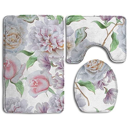 HanSmallT Seamless Pattern With Flowers Rose Peony White Non Slip 3 Piece Bathroom Mat Pedestal Rug + Lid Toilet Cover + Bath Mat Customized Artwork Print (Peony Pedestal)