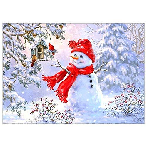Christmas 5D Diamond Painting Tool Full Drill Diamond Paint Christmas Snowman, Vertily Paintings DIY for Art Wall Home Decor,Crystal Prime Diamond Painting Kit s for Kids - 40×80cm