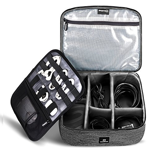 NiceEbag Cable Organizer Travel Bag,Electronics Accessories Organizer,Electronics Organizer Travel Bag and Travel Electronic Accessories Storage Bag for Cables,Phone,Power Bank, Mouse,iPad - Black by NiceEbag