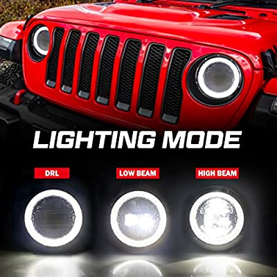 9 Inch Led Headlights [DOT Approved] Jeep Round Headlight with DRL High Beam and Low Beam for 2020-2020 Jeep Wrangler JL [Diamond Design]: Automotive