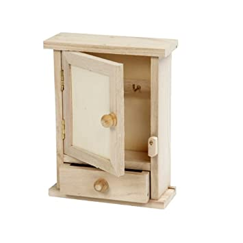 Creativ 1 Piece Wooden Key Cabinet With Metal Key Hooks And Small Drawer