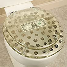 Dollar and Coins Design Polyresin Standard Toilet Seat - Clear