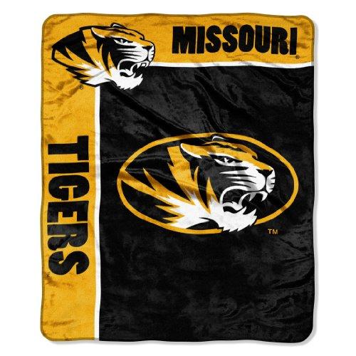"""NCAA Missouri Tigers 50-Inch-by-60-Inch Raschel Plush Throw """"School Spirit"""" Design"""