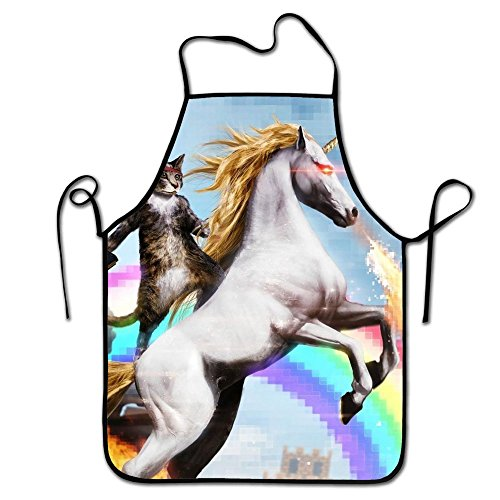 RESULT LOVE Unicorn Rainbow Gun Cooking BBQ Apron Women's Men's Great Gift For Wife Ladies Men (Rainbow Apron)