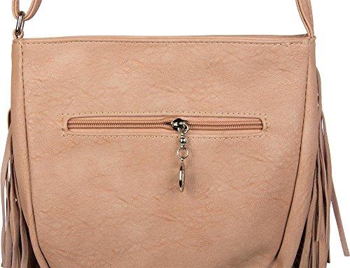 styleBREAKER Umhängetasche mit langen Fransen im coolen Ethno Style, Schultertasche, Tasche, Damen 02012113, Farbe:Schwarz Rose