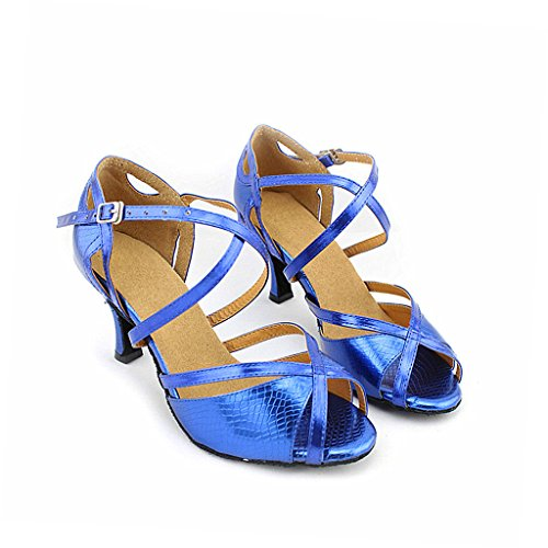 Misu 75 Sandaalit Tanssikengät Peep Toe Käytännössä Salsa Naisten 2 Tanssisali Kantapää Sininen Latin Tango qPUqrnBZwx