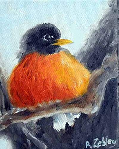 American robin bird Fine Art Print from Original Oil Painting, Signed by Artist, Backyard Wildlife Home Decor