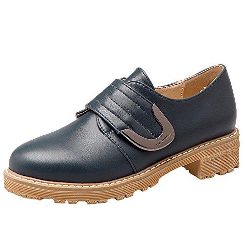 Zapatos Oxford De Tacón Bajo De Charm Foot Para Mujer Western Hook Y Loop Azul Oscuro