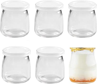 Danmu Art - 6 botes de cristal para pudín de yogur (200 ml, tapa de plástico): Amazon.es: Bricolaje y herramientas