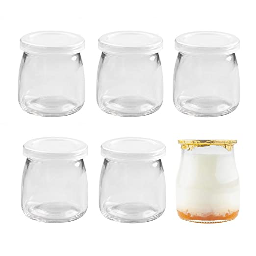 Danmu Art Juego de 6 tarros de cristal de 200 ml con tapas de pl/ástico y mini vasos de cristal peque/ños