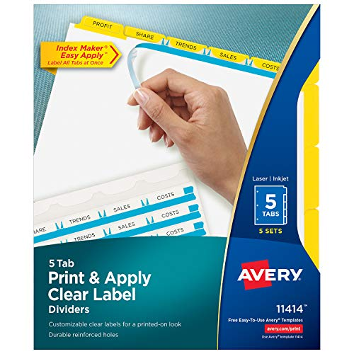 Avery 5-Tab Binder Dividers, Easy Print & Apply Clear Label Strip, Index Maker, Yellow Tabs, 5 Sets (11414)