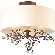 Elk Lighting 20089/3 Winterberry 3-Light Semi Flush Mount with Glass Shade, 16 by 15-Inch, Antique Darkwood Finish
