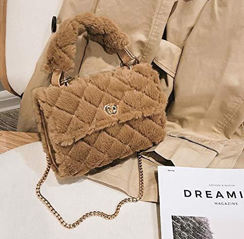 Buy Generic Korean Fashion Sweet Lady Tote Bag 2018 Winter New Quality Soft Plush Women S Designer Handbag Chain Shoulder Messenger Bags Color Brown Size 20 X 7 X 15 Cm At Amazon In