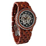 Wilds Wood Watches Premium Eco Self-Winding Wooden Wrist Watch For Men, Natural Durable Handcrafted Gift Idea for Him (Rosewood)