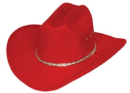 7c30fd6d72c1 Western Express Red Felt Cowboy Hat Gold Band Outside Elastic Size Band  Inside (Adult Small
