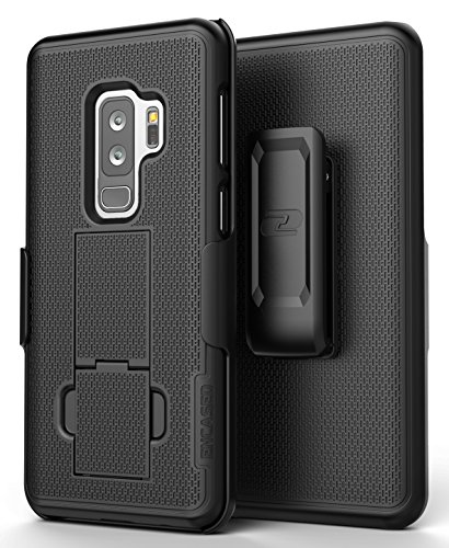 Encased Samsung Galaxy S9 Plus Case with Belt Clip (DuraClip) Slim Fit Holster Shell Combo w/Rubberized Grip (S9+ 2018 Release) Smooth Black