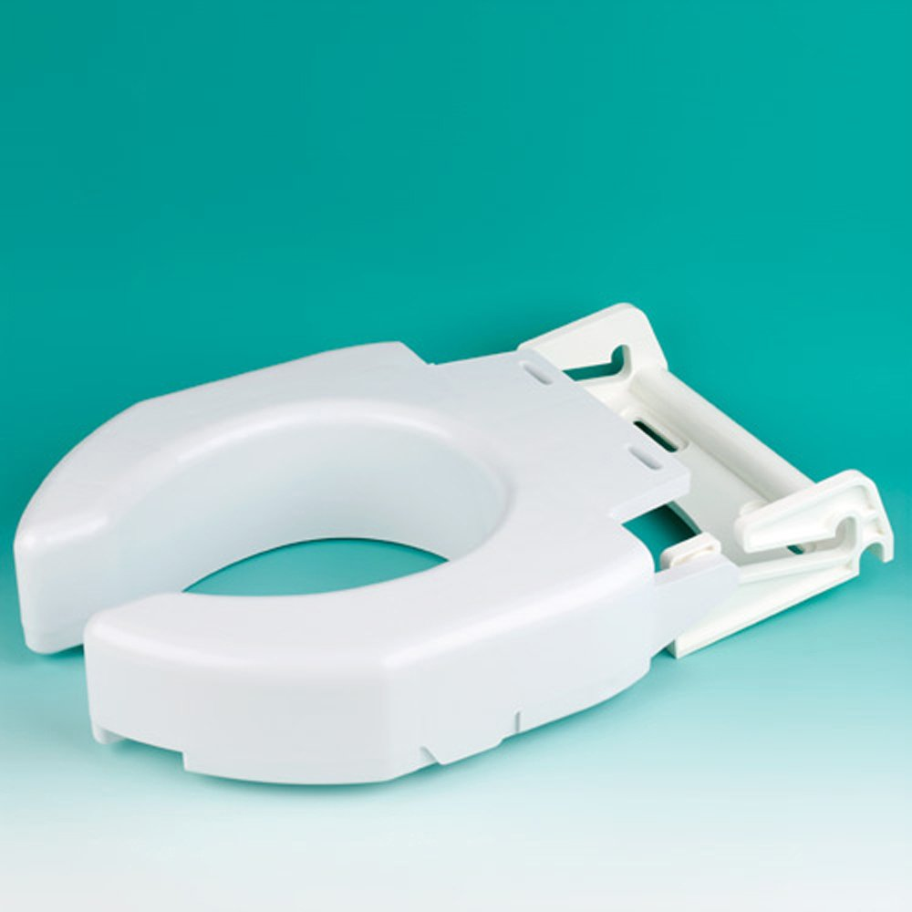 Ableware Secure-Bolt Hinged Elevated Toilet Seat, Elongated (725680001)