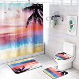 Weiliru Set of 4 Non Slip Contour Bath mat +Shower Curtain | Absorbent Water | Dry Fast | Machine-Washable | Perfect for Bathroom,Tub, and Shower